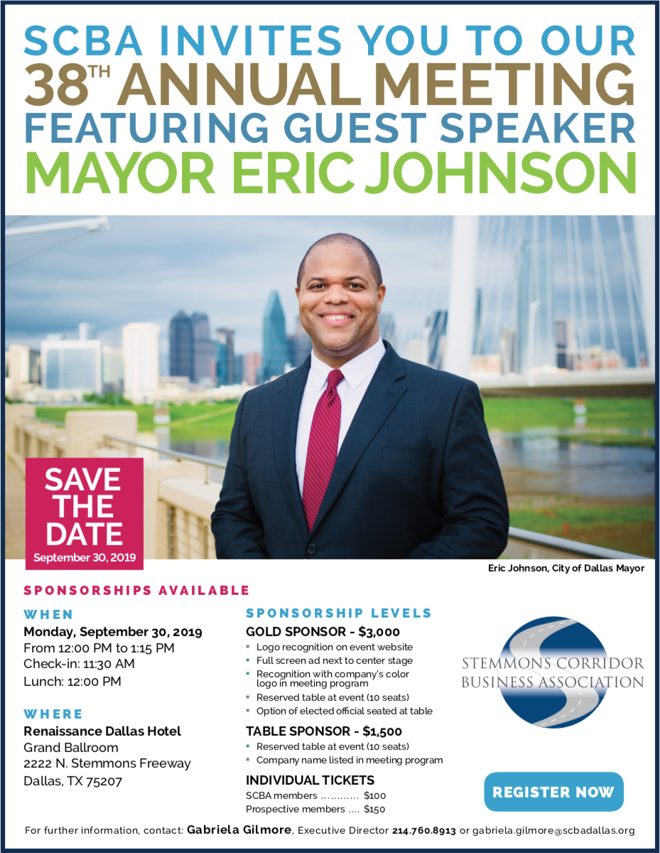 SCBA invites you to our 38th annual meeting featuring guest speaker Mayor of Dallas, Eric Johnson.
